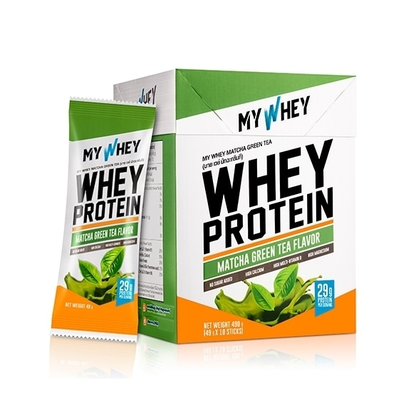 My whey matcha flavored whey protein powder box and sachet product photo
