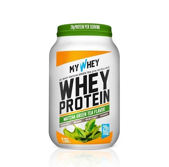 My whey matcha flavored whey protein powder jar product photo