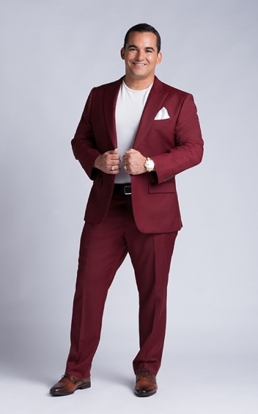 YSIS men's white t-shirt with burgundy suits product photo