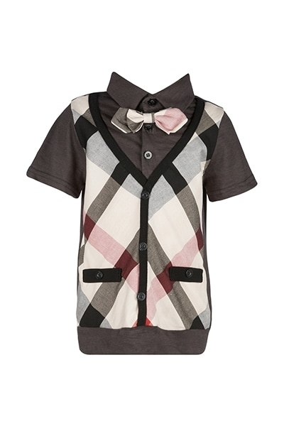 Orami grey shirt with pink bowtie and checkered board vest product photo