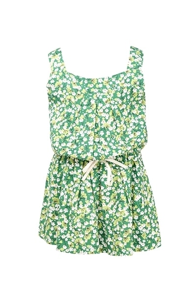 Orami green sleeveless with shorts jumpsuit with white patterns product photo