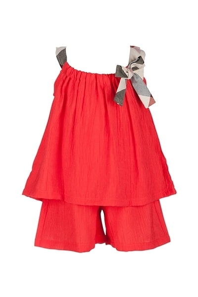 Orami red sleeveless top and shortswith brown straps and bow