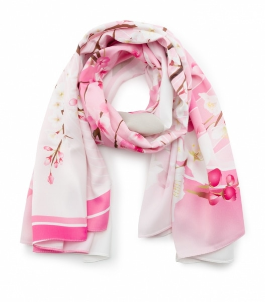 Thai SME pink floral print scarf product photo