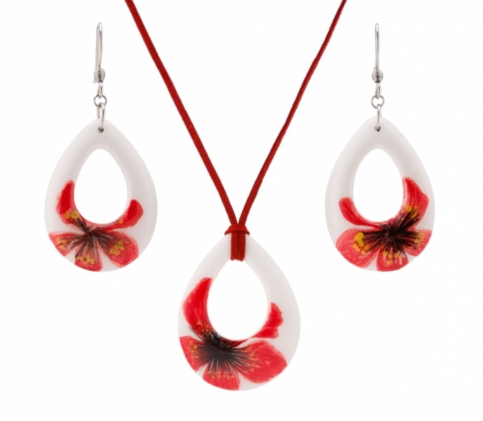Thai SME white stone earrings with red flower prints product photo
